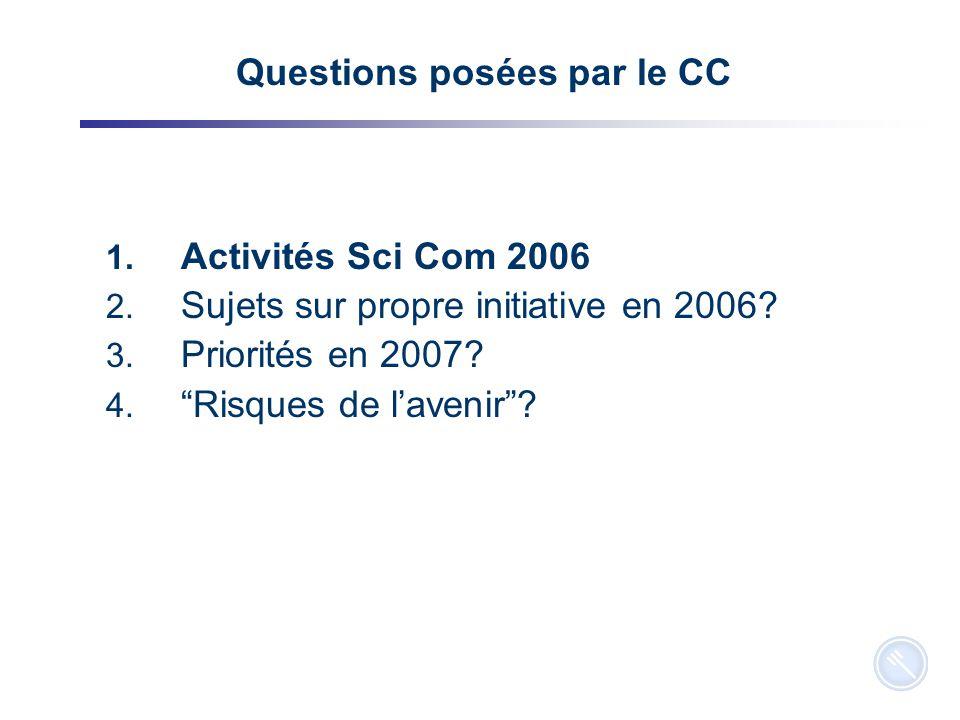 2 Questions posées par le CC 1. Activités Sci Com 2006 2.