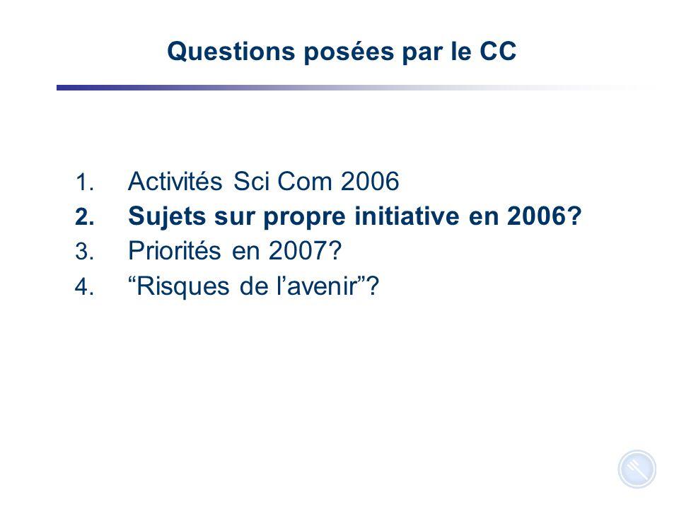 4 Questions posées par le CC 1. Activités Sci Com 2006 2.