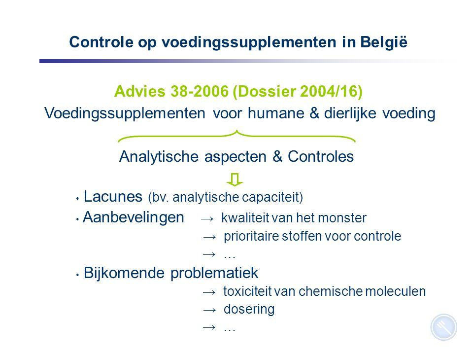 7 Controle op voedingssupplementen in België Advies 38-2006 (Dossier 2004/16) Voedingssupplementen voor humane & dierlijke voeding Analytische aspecten & Controles Lacunes (bv.