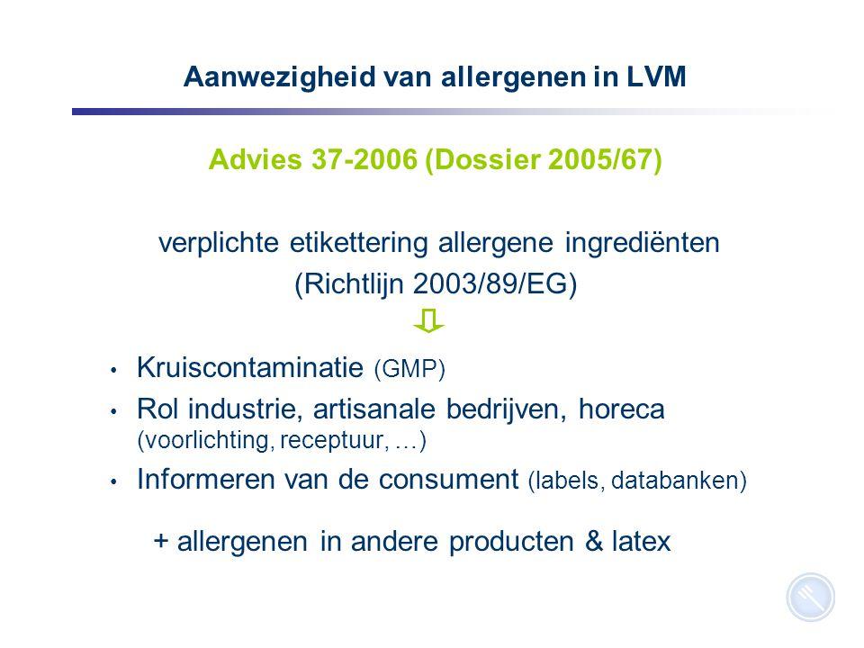 8 Aanwezigheid van allergenen in LVM Advies 37-2006 (Dossier 2005/67) verplichte etikettering allergene ingrediënten (Richtlijn 2003/89/EG) Kruiscontaminatie (GMP) Rol industrie, artisanale bedrijven, horeca (voorlichting, receptuur, …) Informeren van de consument (labels, databanken) + allergenen in andere producten & latex
