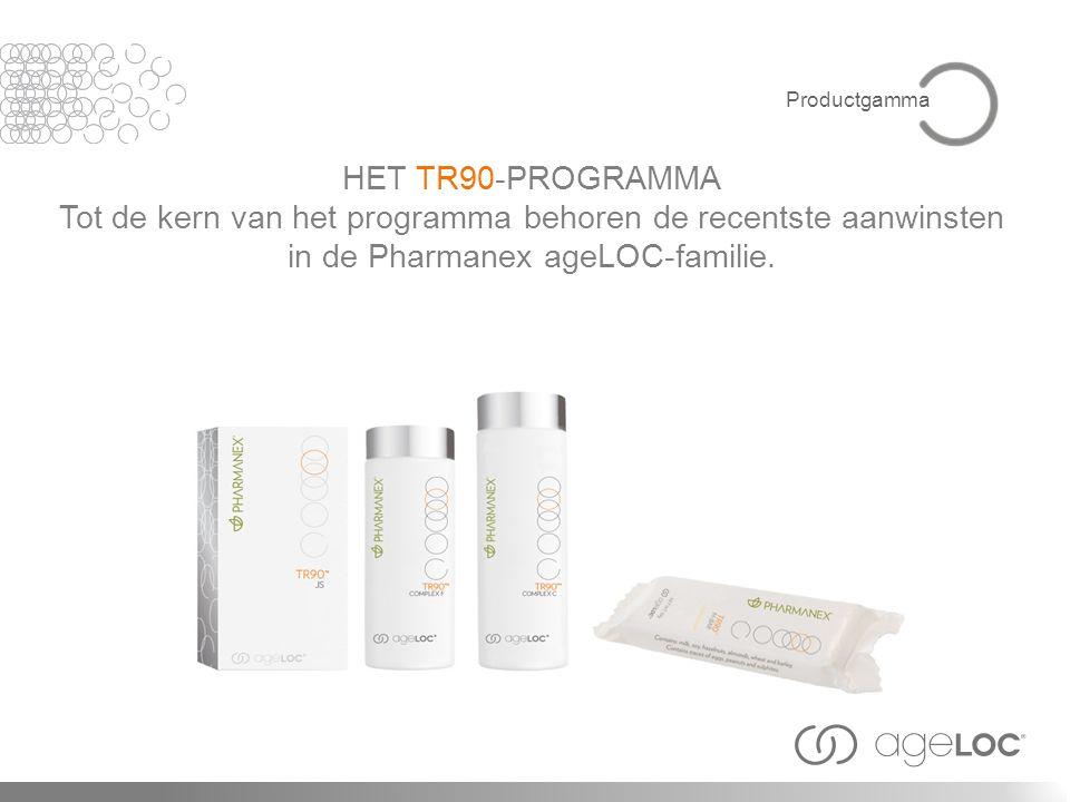 HET TR90-PROGRAMMA Tot de kern van het programma behoren de recentste aanwinsten in de Pharmanex ageLOC-familie. Productgamma