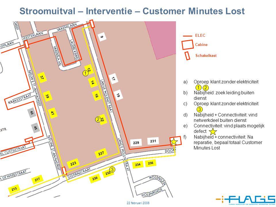 22 februari 2006 7 Stroomuitval – Interventie – Customer Minutes Lost 12 14 16 22 9 17 19 229 223 227 231 37 39 41 230 232 234 236 217 213 43 45 ELEC