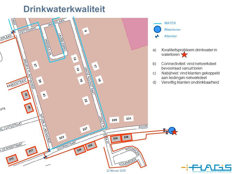 22 februari 2006 8 Drinkwaterkwaliteit 12 14 16 22 9 17 19 229 223 227 231 37 39 41 230 232 234 236 217 213 43 45 WATER Watertoren Afsluiter a)Kwalite