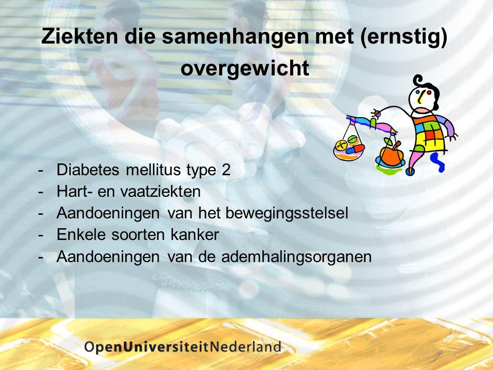 Ziekten die samenhangen met (ernstig) overgewicht -Diabetes mellitus type 2 -Hart- en vaatziekten -Aandoeningen van het bewegingsstelsel -Enkele soort