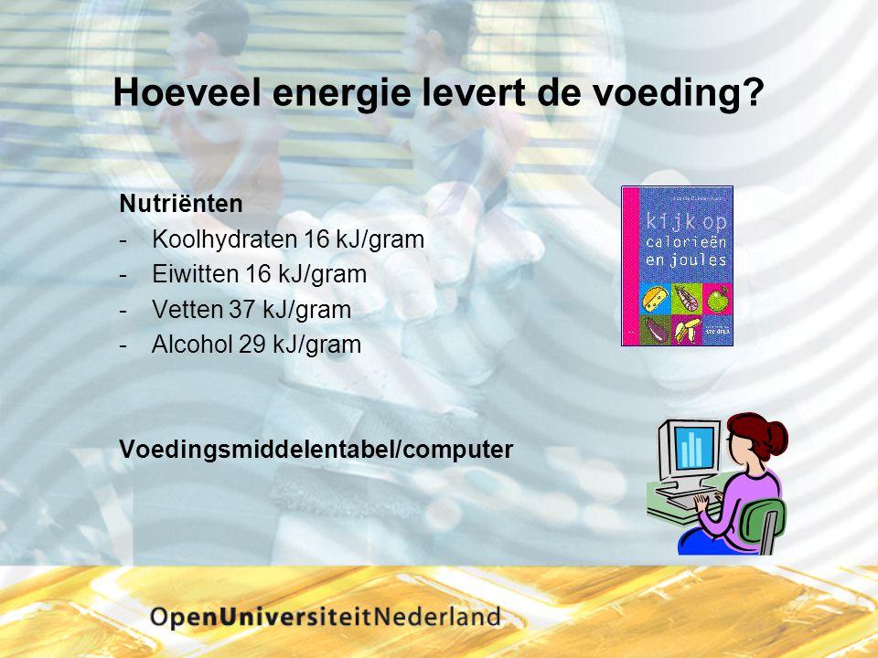Hoeveel energie levert de voeding? Nutriënten Koolhydraten 16 kJ/gram Eiwitten 16 kJ/gram Vetten 37 kJ/gram Alcohol 29 kJ/gram Voedingsmiddelentab
