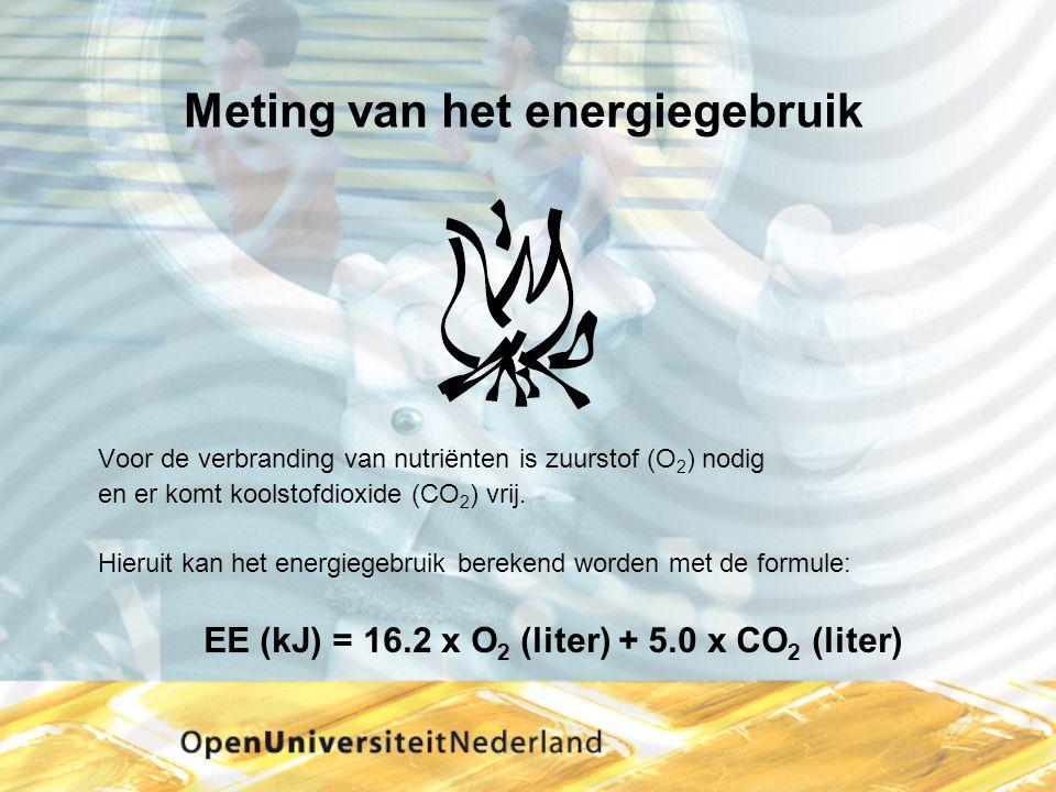 Meting van het energiegebruik Voor de verbranding van nutriënten is zuurstof (O 2 ) nodig en er komt koolstofdioxide (CO 2 ) vrij. Hieruit kan het ene