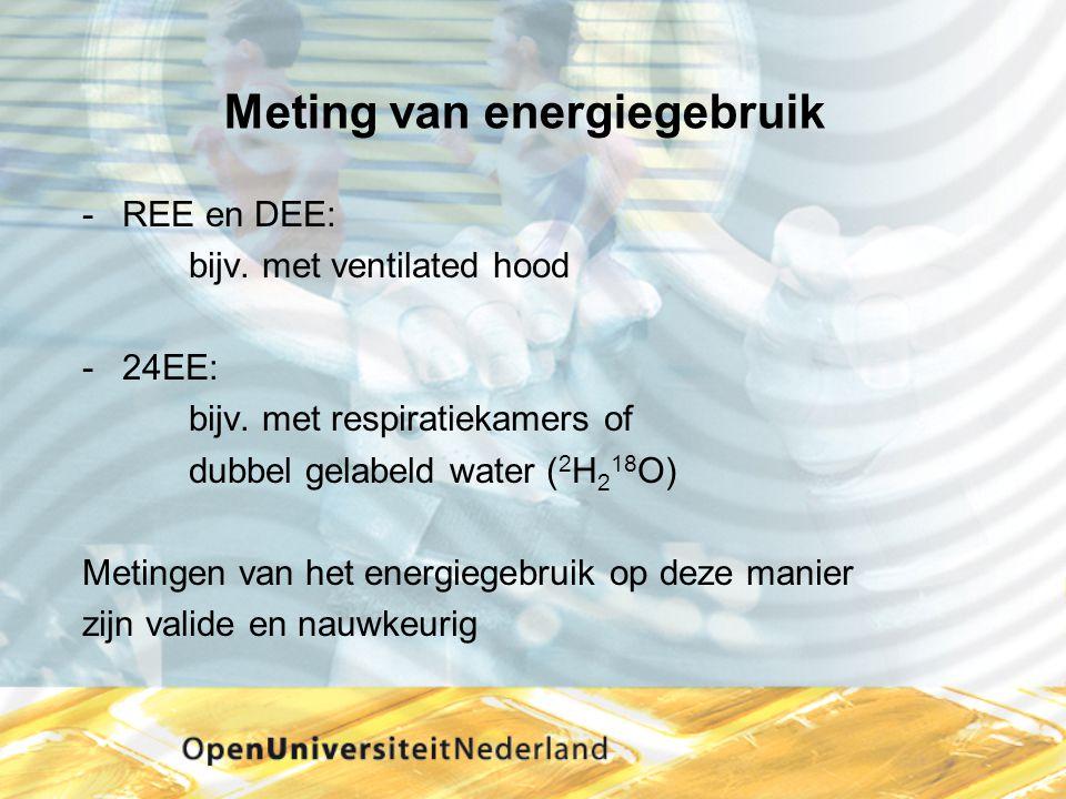 Meting van energiegebruik REE en DEE: bijv. met ventilated hood 24EE: bijv. met respiratiekamers of dubbel gelabeld water ( 2 H 2 18 O) Metingen van