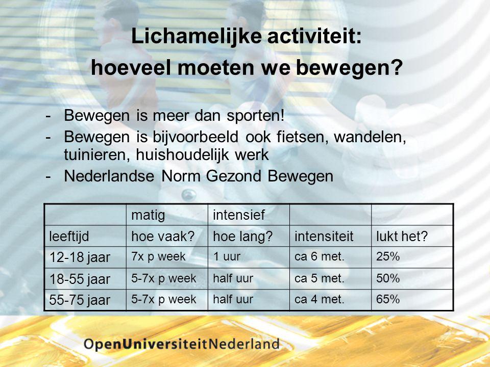 Lichamelijke activiteit: hoeveel moeten we bewegen? Bewegen is meer dan sporten! Bewegen is bijvoorbeeld ook fietsen, wandelen, tuinieren, huishoude