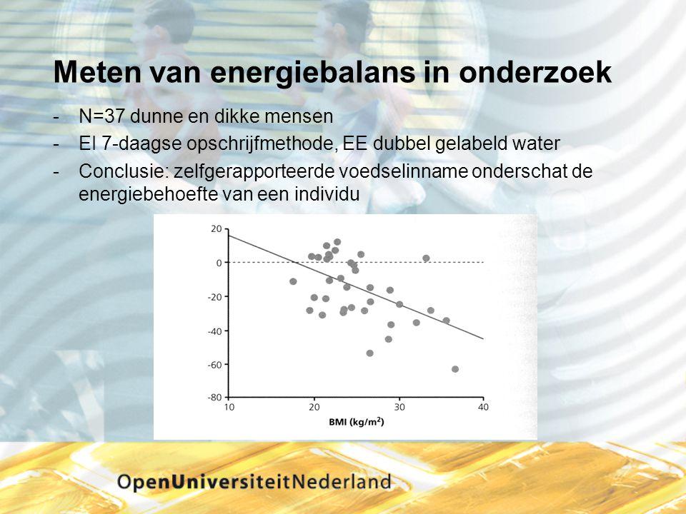 Meten van energiebalans in onderzoek N=37 dunne en dikke mensen EI 7-daagse opschrijfmethode, EE dubbel gelabeld water Conclusie: zelfgerapporteerd