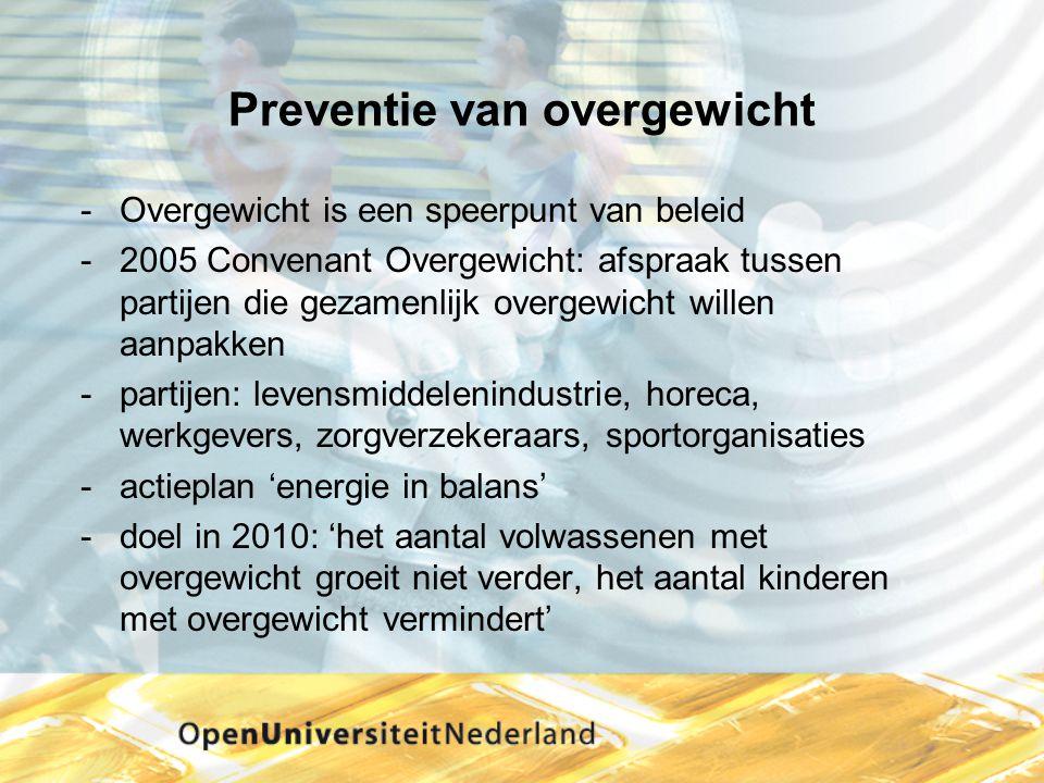 Preventie van overgewicht Overgewicht is een speerpunt van beleid 2005 Convenant Overgewicht: afspraak tussen partijen die gezamenlijk overgewicht w