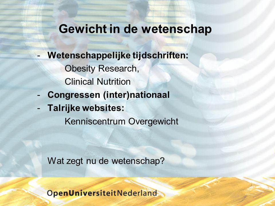 Gewicht in de wetenschap Wetenschappelijke tijdschriften: Obesity Research, Clinical Nutrition Congressen (inter)nationaal Talrijke websites: Kenni