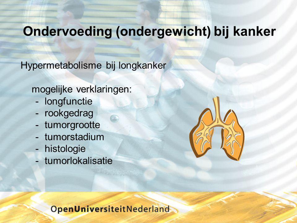 Ondervoeding (ondergewicht) bij kanker Hypermetabolisme bij longkanker mogelijke verklaringen: -longfunctie -rookgedrag -tumorgrootte -tumorstadium -h