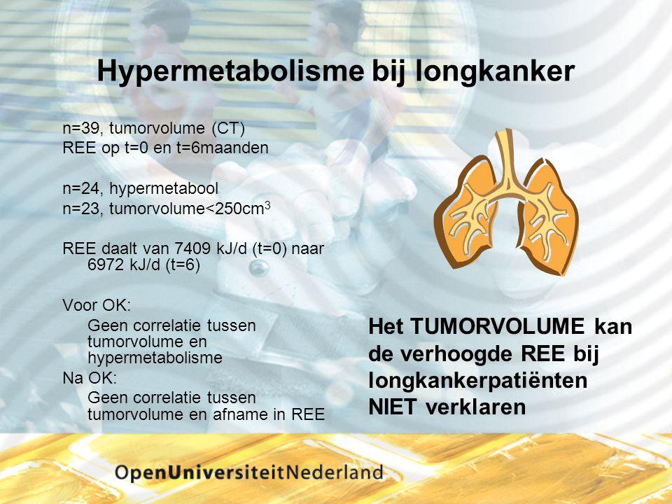 Hypermetabolisme bij longkanker n=39, tumorvolume (CT) REE op t=0 en t=6maanden n=24, hypermetabool n=23, tumorvolume<250cm 3 REE daalt van 7409 kJ/d