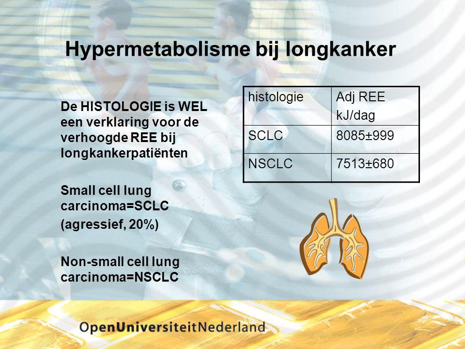 Hypermetabolisme bij longkanker De HISTOLOGIE is WEL een verklaring voor de verhoogde REE bij longkankerpatiënten Small cell lung carcinoma=SCLC (agre