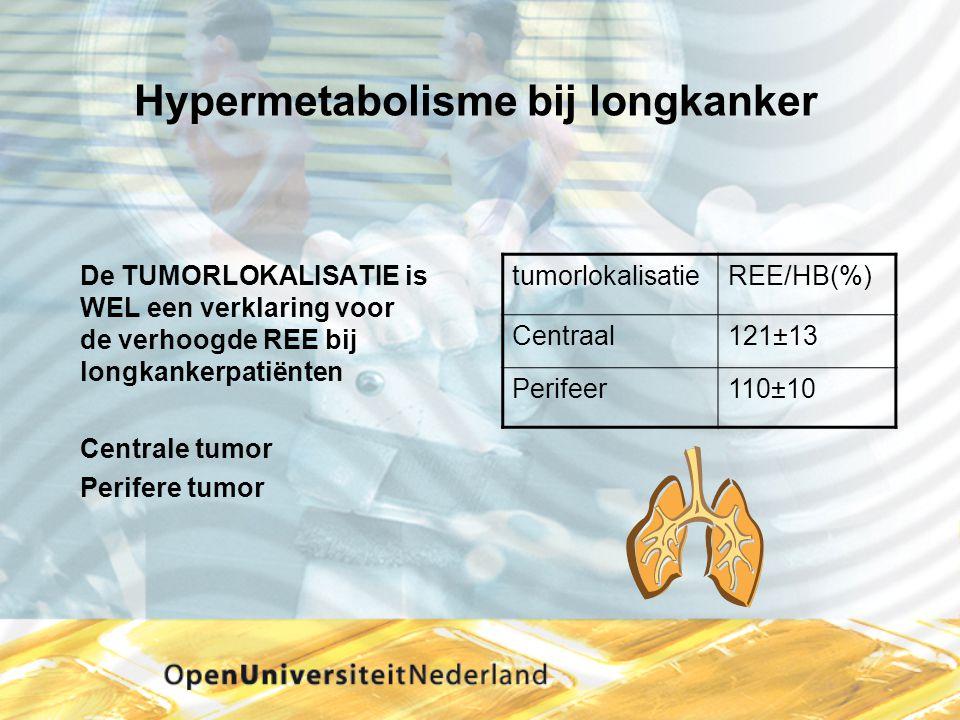Hypermetabolisme bij longkanker De TUMORLOKALISATIE is WEL een verklaring voor de verhoogde REE bij longkankerpatiënten Centrale tumor Perifere tumor