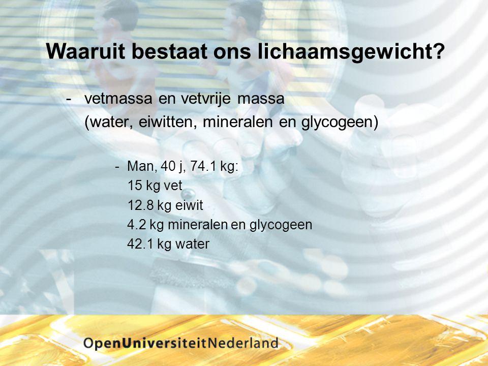 Waaruit bestaat ons lichaamsgewicht? vetmassa en vetvrije massa (water, eiwitten, mineralen en glycogeen) Man, 40 j, 74.1 kg: 15 kg vet 12.8 kg eiwi