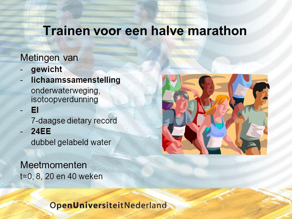 Trainen voor een halve marathon Metingen van gewicht -lichaamssamenstelling onderwaterweging, isotoopverdunning -EI 7-daagse dietary record -24EE dub