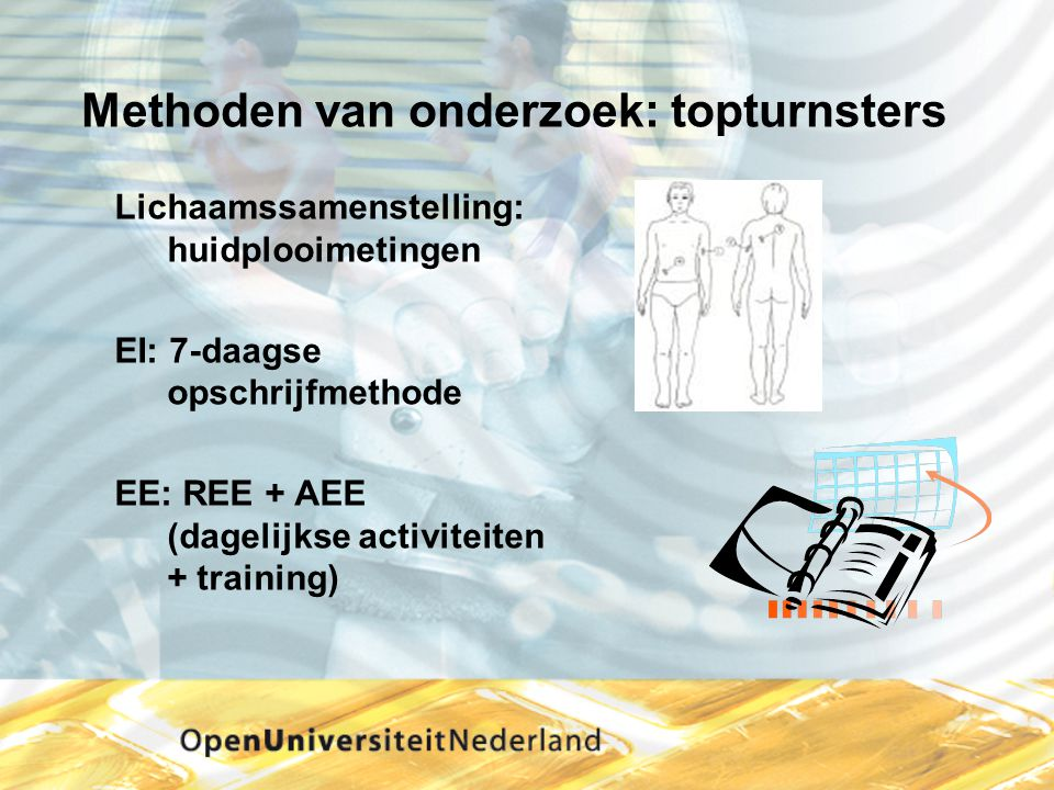 Methoden van onderzoek: topturnsters Lichaamssamenstelling: huidplooimetingen EI: 7-daagse opschrijfmethode EE: REE + AEE (dagelijkse activiteiten + t