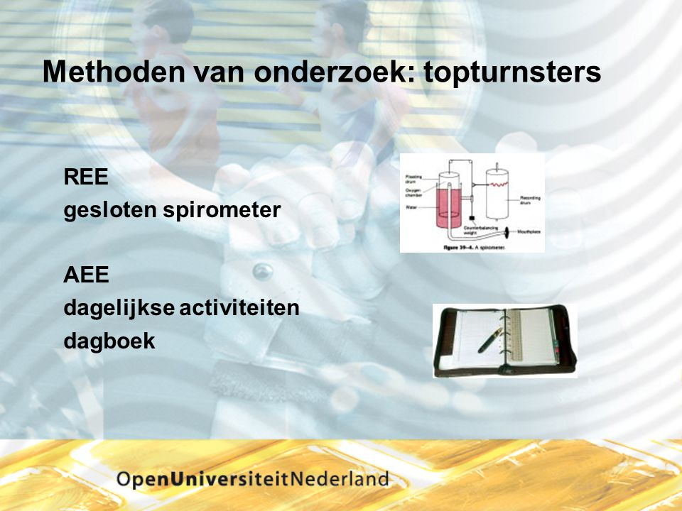 Methoden van onderzoek: topturnsters REE gesloten spirometer AEE dagelijkse activiteiten dagboek