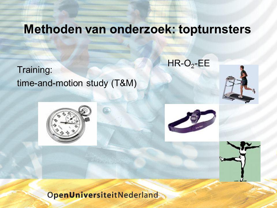 Methoden van onderzoek: topturnsters Training: time-and-motion study (T&M) HR-O 2 -EE