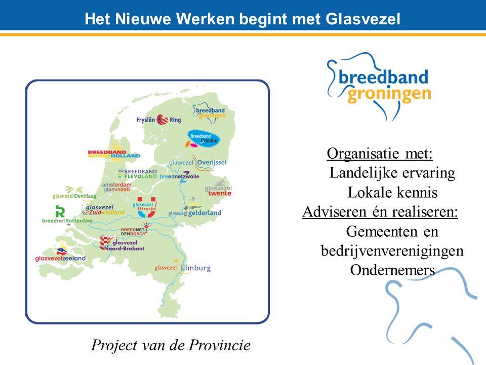 Het Nieuwe Werken begint met Glasvezel Organisatie met: Landelijke ervaring Lokale kennis Adviseren én realiseren: Gemeenten en bedrijvenverenigingen Ondernemers Project van de Provincie