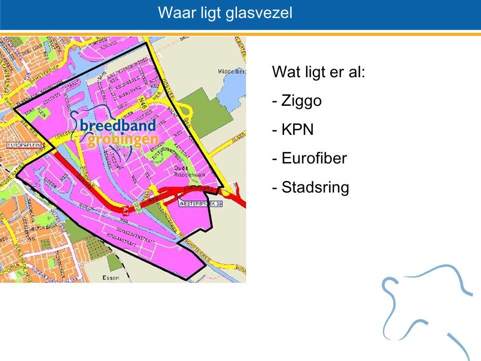 Wat ligt er al Wat ligt er al: - Ziggo - KPN - Eurofiber - Stadsring Waar ligt glasvezel