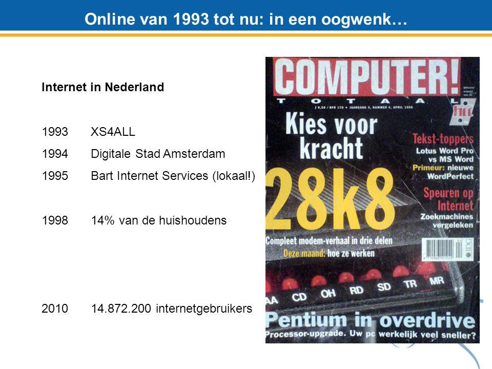 Online van 1993 tot nu: in een oogwenk… Internet in Nederland 1993 XS4ALL 1994Digitale Stad Amsterdam 1995Bart Internet Services (lokaal!) 1998 14% van de huishoudens 2010 14.872.200 internetgebruikers