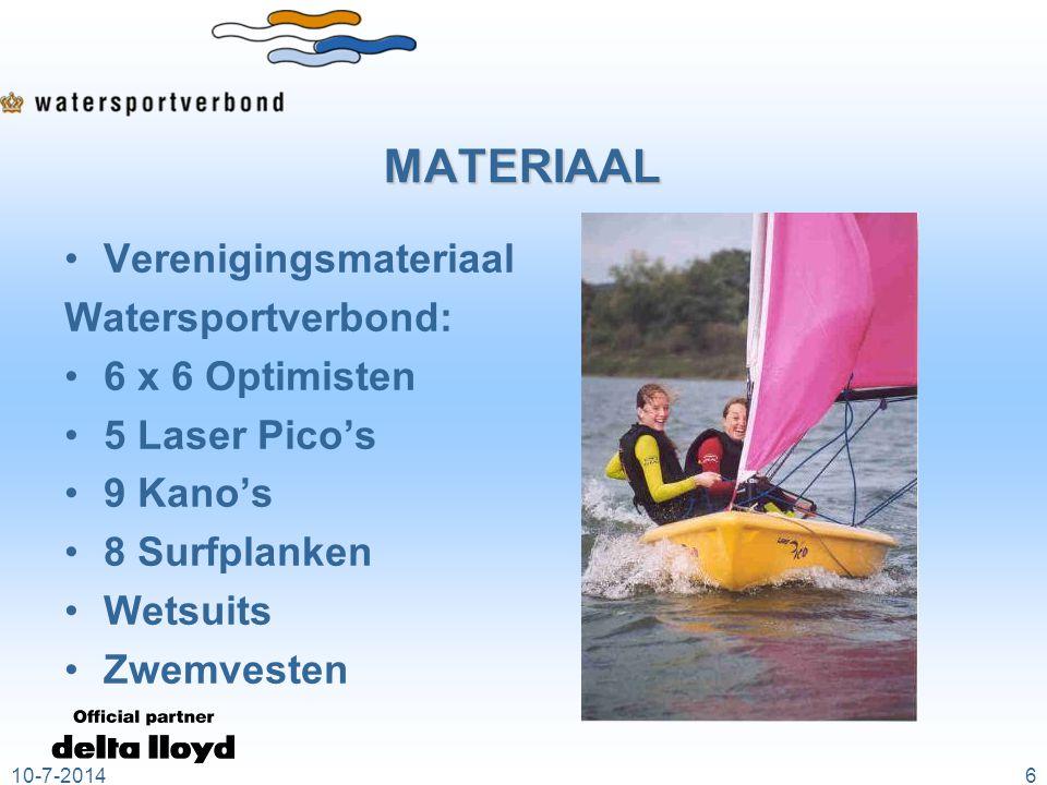 MATERIAAL Verenigingsmateriaal Watersportverbond: 6 x 6 Optimisten 5 Laser Pico's 9 Kano's 8 Surfplanken Wetsuits Zwemvesten 10-7-20146