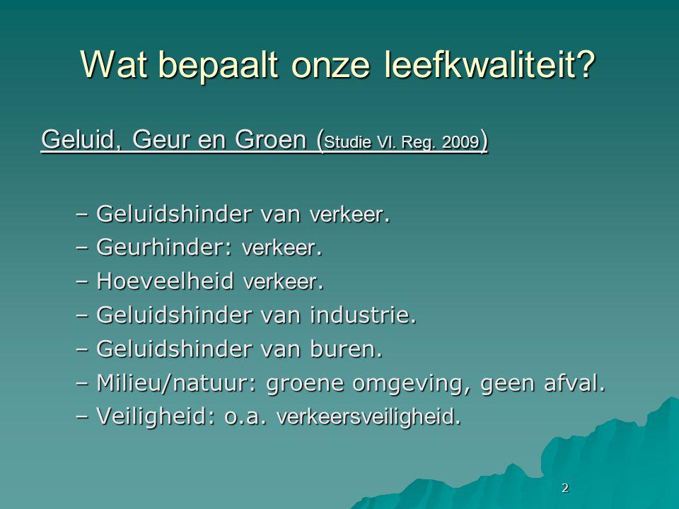 2 Wat bepaalt onze leefkwaliteit. Geluid, Geur en Groen ( Studie Vl.