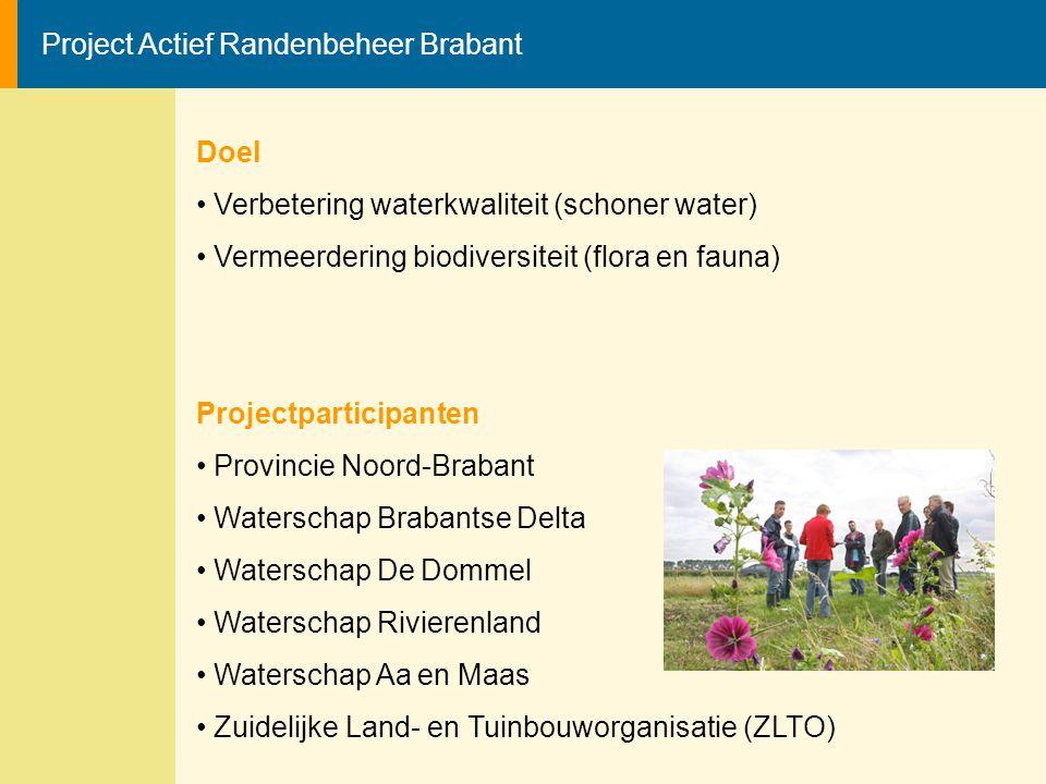 Project Actief Randenbeheer Brabant Doel Verbetering waterkwaliteit (schoner water) Vermeerdering biodiversiteit (flora en fauna) Projectparticipanten