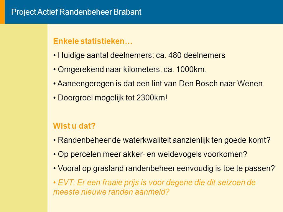Project Actief Randenbeheer Brabant Enkele statistieken… Huidige aantal deelnemers: ca. 480 deelnemers Omgerekend naar kilometers: ca. 1000km. Aaneeng