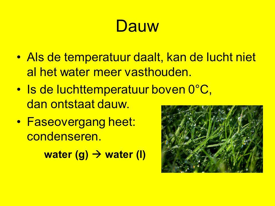 Dauw Als de temperatuur daalt, kan de lucht niet al het water meer vasthouden. Is de luchttemperatuur boven 0°C, dan ontstaat dauw. Faseovergang heet: