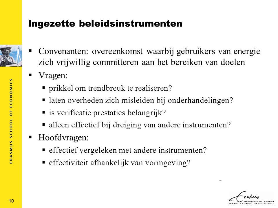 10 Ingezette beleidsinstrumenten  Convenanten: overeenkomst waarbij gebruikers van energie zich vrijwillig committeren aan het bereiken van doelen  Vragen:  prikkel om trendbreuk te realiseren.