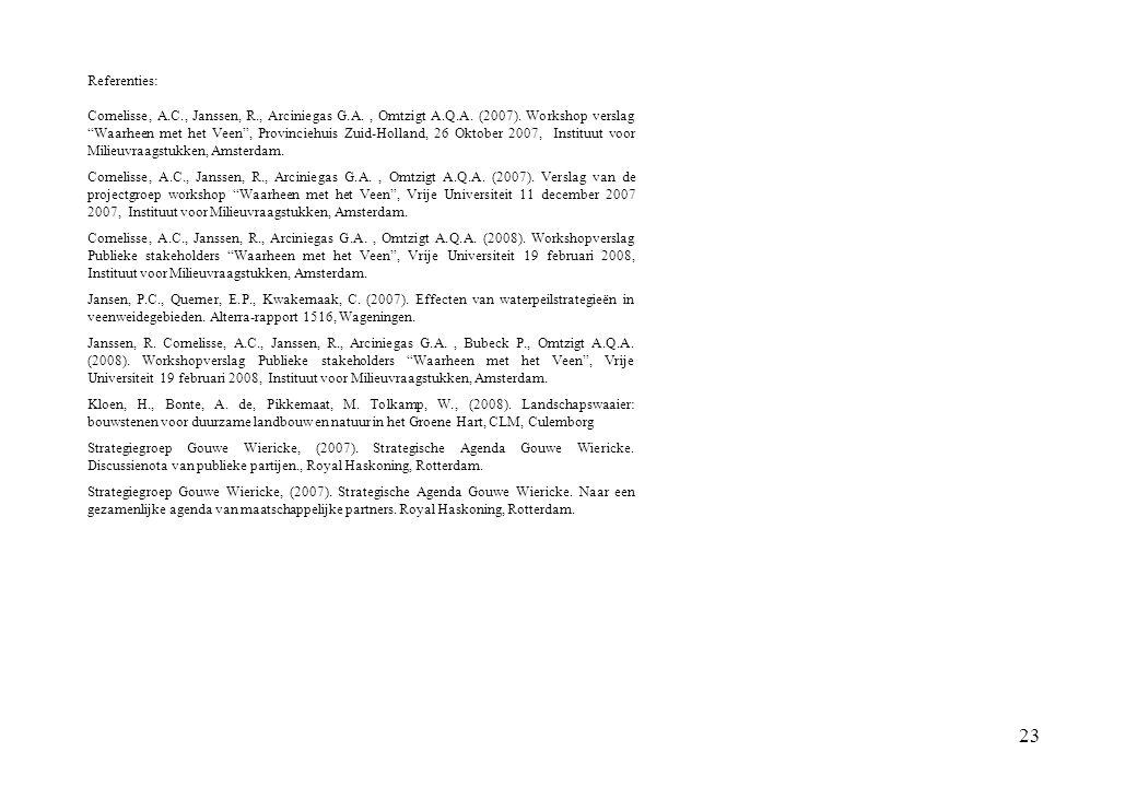 """23 Referenties: Cornelisse, A.C., Janssen, R., Arciniegas G.A., Omtzigt A.Q.A. (2007). Workshop verslag """"Waarheen met het Veen"""", Provinciehuis Zuid-Ho"""