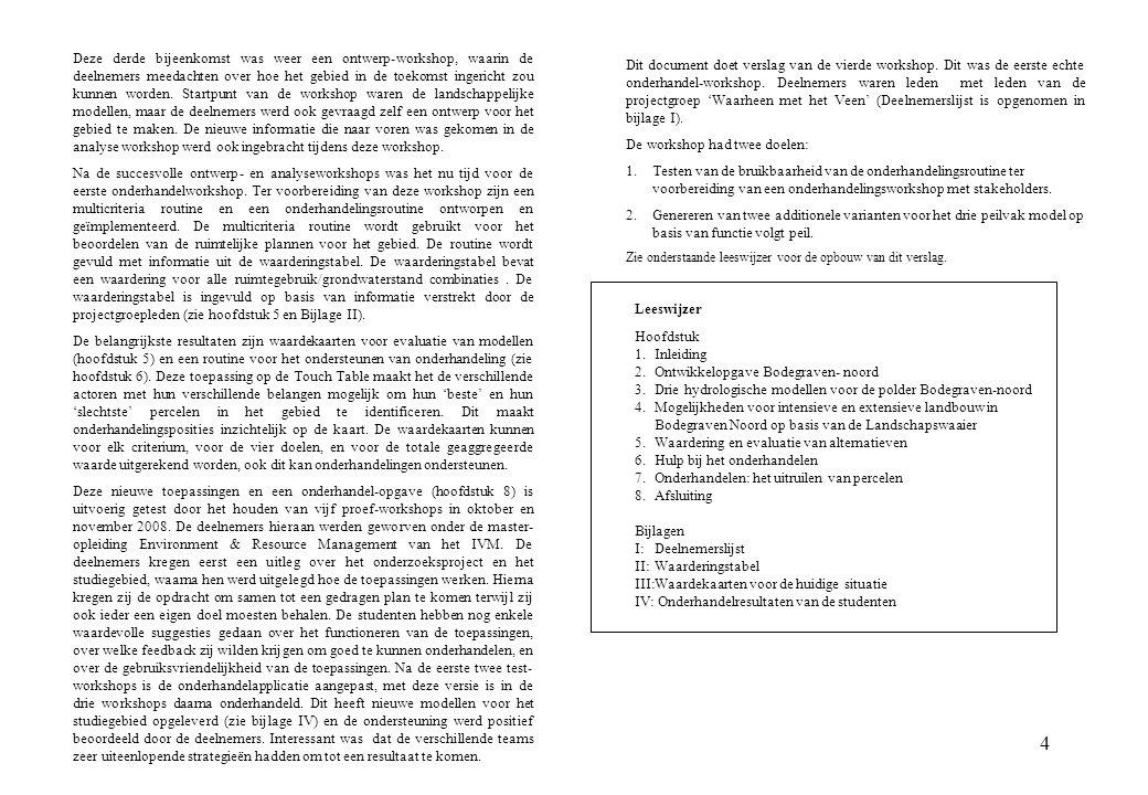 4 Leeswijzer Hoofdstuk 1.Inleiding 2.Ontwikkelopgave Bodegraven- noord 3.Drie hydrologische modellen voor de polder Bodegraven-noord 4.Mogelijkheden v