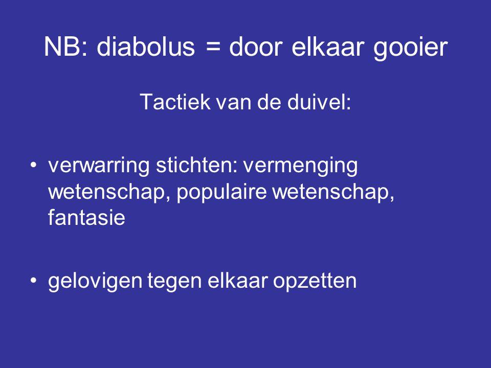 NB: diabolus = door elkaar gooier Tactiek van de duivel: verwarring stichten: vermenging wetenschap, populaire wetenschap, fantasie gelovigen tegen el