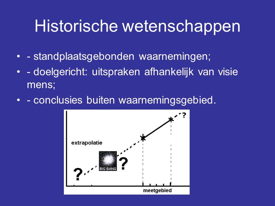 Historische wetenschappen - standplaatsgebonden waarnemingen; - doelgericht: uitspraken afhankelijk van visie mens; - conclusies buiten waarnemingsgeb