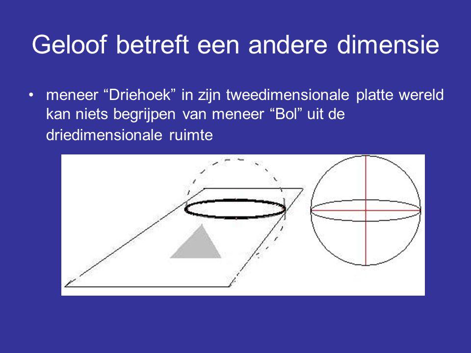 """Geloof betreft een andere dimensie meneer """"Driehoek"""" in zijn tweedimensionale platte wereld kan niets begrijpen van meneer """"Bol"""" uit de driedimensiona"""