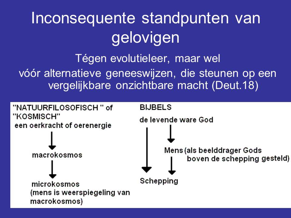 Inconsequente standpunten van gelovigen Tégen evolutieleer, maar wel vóór alternatieve geneeswijzen, die steunen op een vergelijkbare onzichtbare mach