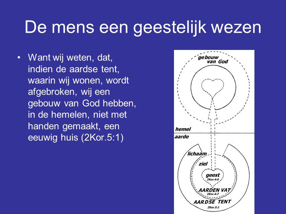 De mens een geestelijk wezen Want wij weten, dat, indien de aardse tent, waarin wij wonen, wordt afgebroken, wij een gebouw van God hebben, in de heme