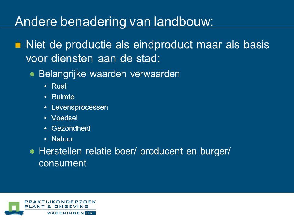 Andere benadering van landbouw: Niet de productie als eindproduct maar als basis voor diensten aan de stad: Belangrijke waarden verwaarden Rust Ruimte Levensprocessen Voedsel Gezondheid Natuur Herstellen relatie boer/ producent en burger/ consument