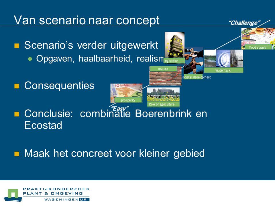Van scenario naar concept Scenario's verder uitgewerkt Opgaven, haalbaarheid, realisme Consequenties Conclusie: combinatie Boerenbrink en Ecostad Maak het concreet voor kleiner gebied