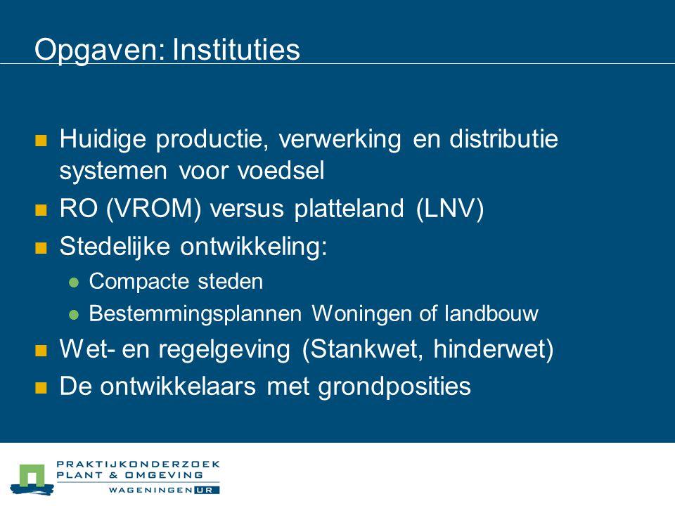 Opgaven: Instituties Huidige productie, verwerking en distributie systemen voor voedsel RO (VROM) versus platteland (LNV) Stedelijke ontwikkeling: Com