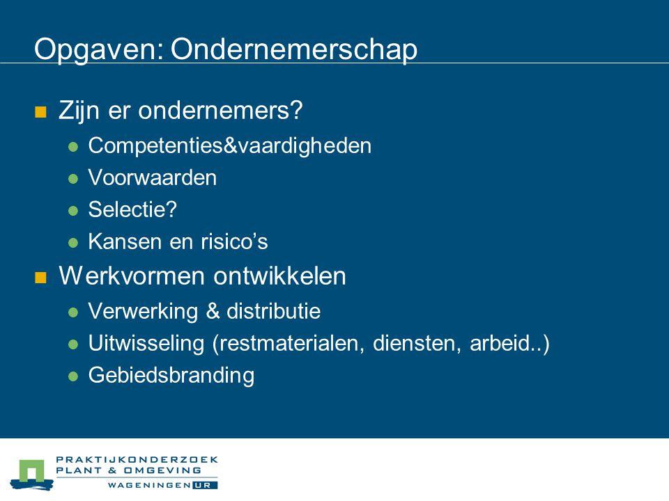 Opgaven: Ondernemerschap Zijn er ondernemers? Competenties&vaardigheden Voorwaarden Selectie? Kansen en risico's Werkvormen ontwikkelen Verwerking & d