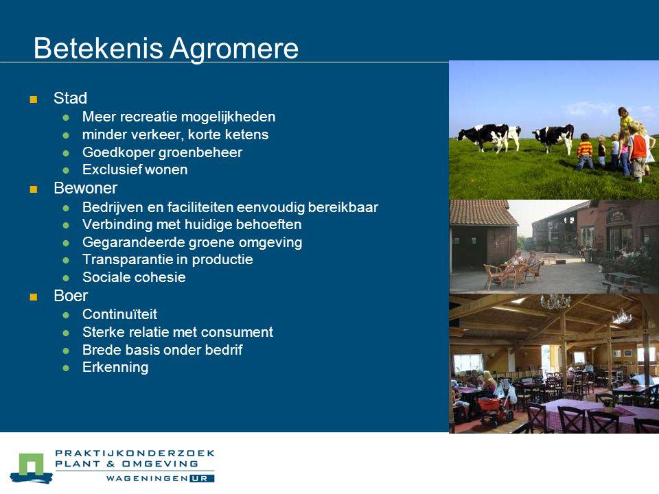 Betekenis Agromere Stad Meer recreatie mogelijkheden minder verkeer, korte ketens Goedkoper groenbeheer Exclusief wonen Bewoner Bedrijven en facilitei