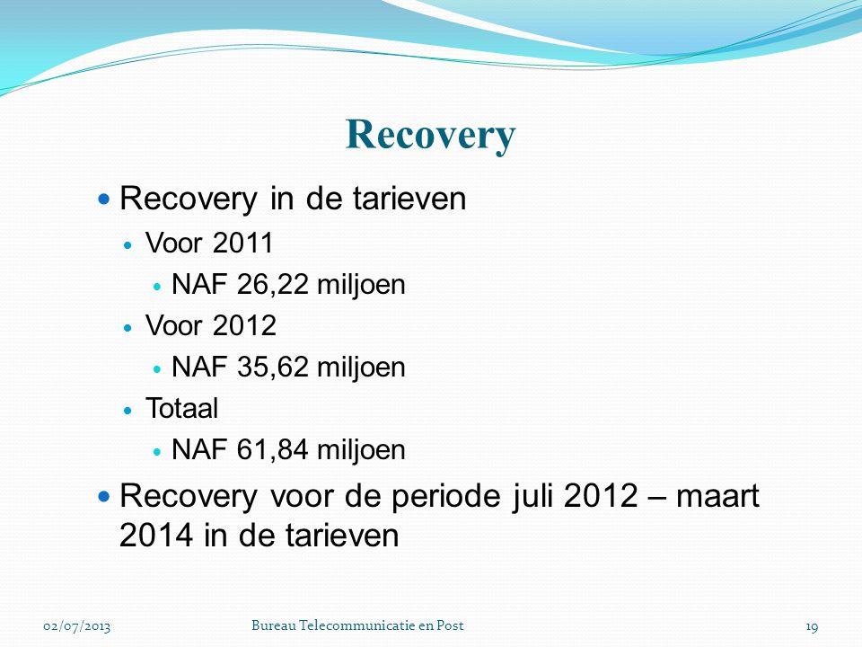 Recovery Recovery in de tarieven Voor 2011 NAF 26,22 miljoen Voor 2012 NAF 35,62 miljoen Totaal NAF 61,84 miljoen Recovery voor de periode juli 2012 –