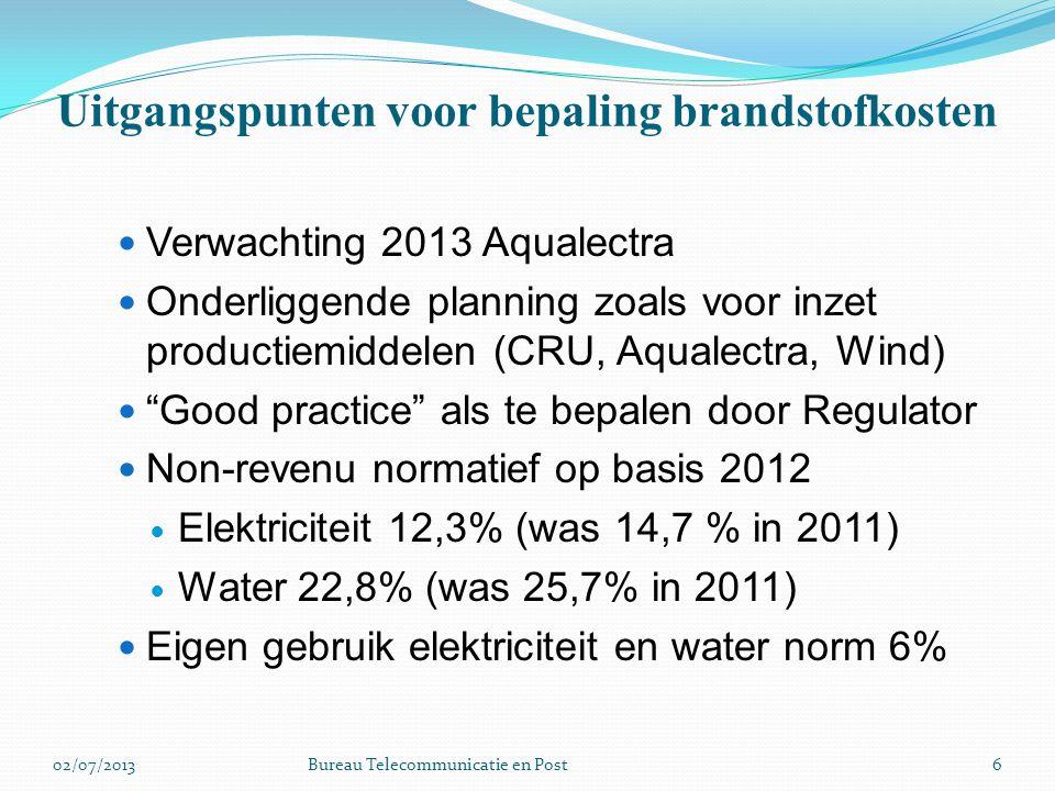 Uitgangspunten voor bepaling brandstofkosten Verwachting 2013 Aqualectra Onderliggende planning zoals voor inzet productiemiddelen (CRU, Aqualectra, W