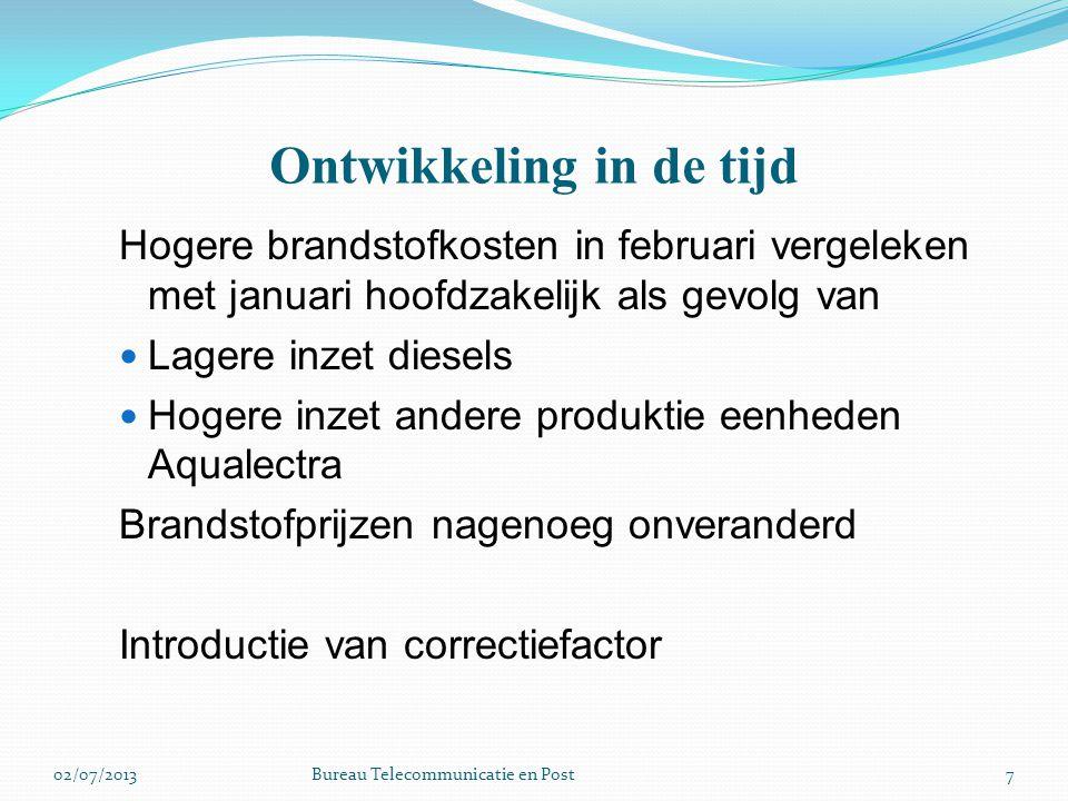 Introductie van correctie factor In de brandstof clausules wordt gebruik gemaakt van prognoses/planning/normering In de tariefprocedure is een correctiefactor inbegrepen voor verrekening verschillen tussen werkelijk en prognose/planning Geen verrekening van afwijking van de normen voor Netwerk- en lekverlies Eigen gebruik 802/07/2013Bureau Telecommunicatie en Post