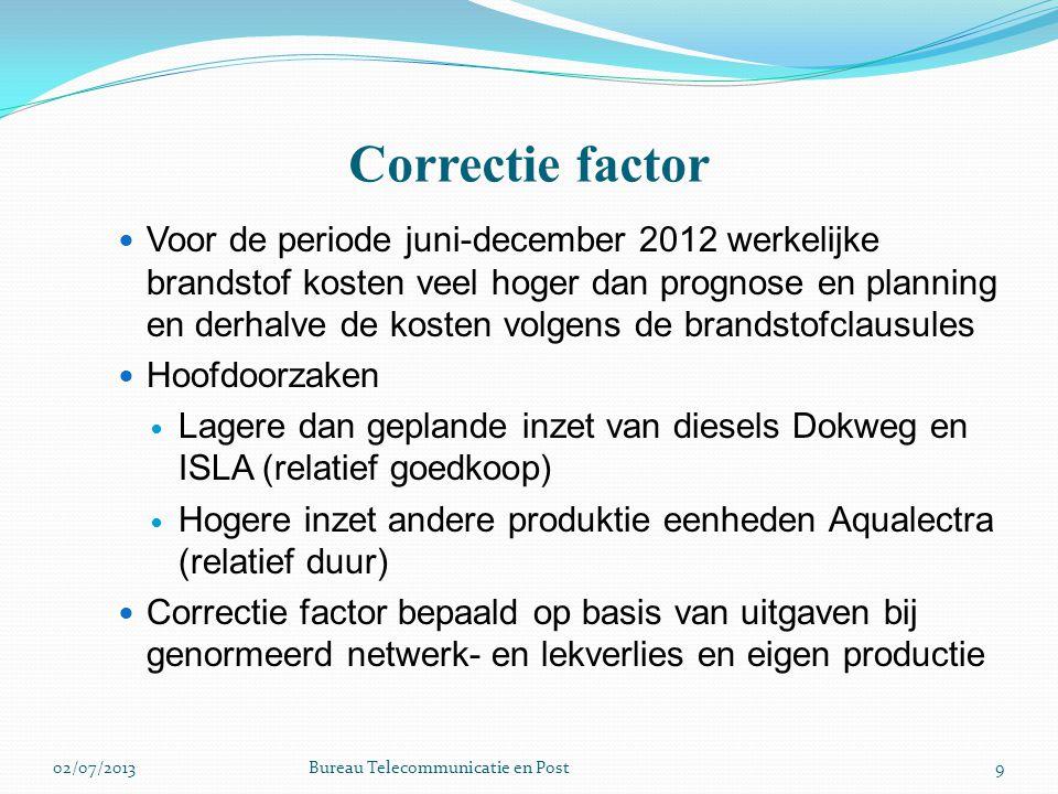 Correctie factor Voor de periode juni-december 2012 werkelijke brandstof kosten veel hoger dan prognose en planning en derhalve de kosten volgens de b