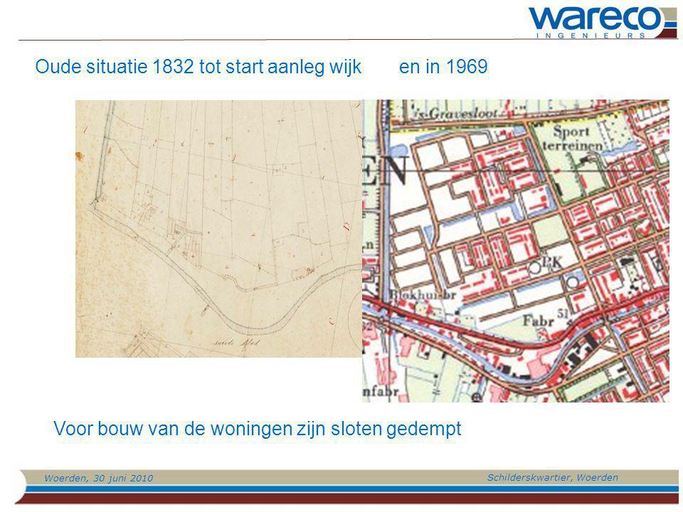Woerden, 30 juni 2010 Schilderskwartier, Woerden Oude situatie 1832 tot start aanleg wijk Voor bouw van de woningen zijn sloten gedempt en in 1969